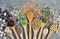 Spuns with mix of dry legume varieties stock image