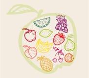 Spuntini, frutta e dessert delle icone di colore Immagini Stock Libere da Diritti