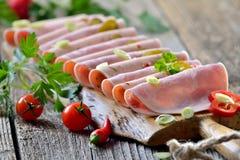 Spuntino con le salsiccie Fotografia Stock