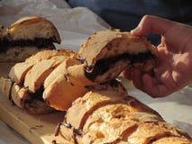 Spuntino con pane e cioccolato Fotografia Stock