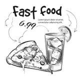 Spuntino degli alimenti a rapida preparazione isolato su pizza disegnata a mano bianco- e sulla bevanda fredda illustrazione vettoriale