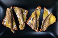 Spuntino: Spratti su pane tostato nero Fotografia Stock Libera da Diritti