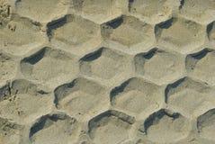 Spur des Reifens im Sand Stockfotografie