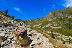 Spur im Berg - Adamello Trento Italien Stockfotografie