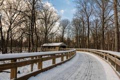 Spur Snowy-überdachter Brücke Stockbild
