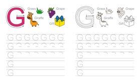 Spurarbeitsblatt für Buchstaben G Stockbild