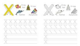 Spurarbeitsblatt für Buchstaben X Stockfoto