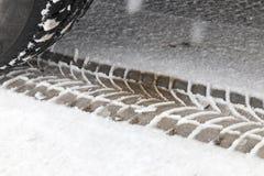 Spuren auf dem Schnee Stockbilder