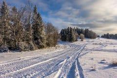 Spuren auf Schnee Lizenzfreies Stockfoto