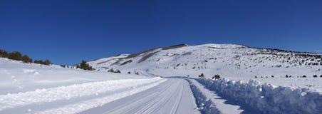 Spuren auf Schnee deckten Straße ab Stockfotos