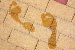 Spuren von nassen Füßen lizenzfreies stockfoto