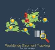 Spurhaltung der weltweiten Suche des Versandes, die isometrischen Vektor 3d versendet Lizenzfreie Stockbilder