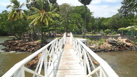 Spurhaltung des Schusses der Brücke über Fluss in Galle in Sri Lanka stock footage