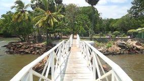 Spurhaltung des Schusses der Brücke über Fluss in Galle in Sri Lanka stock video