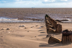 Spurn Head Point Groins Colour. Spurn Head Point sea defence groins. Black and White Stock Image