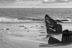 Spurn Head Point sea defence groins. Black and White Stock Photography