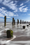 Spurn Point and North Sea. The North Sea from Spurn Point on the East Yorkshire coast. Eroding coastal defences Stock Photos