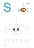 Spurnspiel für Buchstaben S Die Spinne Stockbild