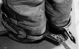 Spurs on cowboy boots. A picture of the cowboy Spurs on his boots royalty free stock image