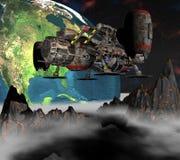 Sputnik basado en los satélites que mueve en órbita alrededor de la tierra 3d Foto de archivo libre de regalías