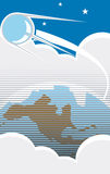 Sputnik Flight. Sputnik flying over the USA with clouds in retro poster style Stock Photos