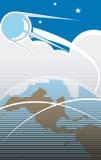Sputnik Flight 2. Sputnik flying over the USA in retro poster style Royalty Free Stock Images