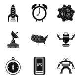 Sputnik icons set, simple style. Sputnik icons set. Simple set of 9 sputnik vector icons for web isolated on white background Royalty Free Stock Image