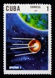 Sputnik 1, 10mo Ana Del lanzamiento del primer serie del satélite artificial, circa 1967 Fotografía de archivo