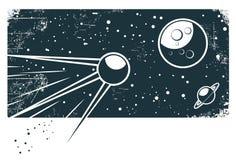 Sputnik no espaço Fotografia de Stock Royalty Free