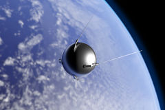 Sputnik Orbiting Earth. An illustration of the first artificial satellite Sputnik, launched by the Soviet Union in 1957, orbiting the Earth Stock Photo