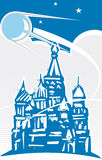 Sputnik over Red Square. Sputnik flying over Red Square in retro poster style Royalty Free Stock Photos