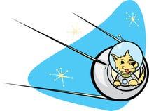 Sputnik-Satelitte und Hund. Lizenzfreies Stockfoto