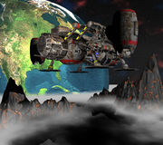Sputnik satellite che orbita terra 3d Fotografia Stock Libera da Diritti