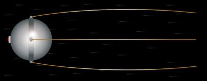 Sputnik Space Satelite. Sputnik satalite launched in the 1950s set against a fast movinh star field on black Royalty Free Stock Photo