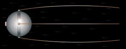 Sputnik Space Satelite. Sputnik satalite launched in the 1950s set against a fast movinh star field on black stock illustration