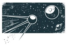 Sputnik in the space(vector). Satelite sputnik orbiting earth in space Royalty Free Stock Photography