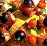 Sputo del melone con la carne di pesci della frutta Immagine Stock