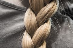 Sputo nubile Capelli del ` s delle donne hairstyle Treccia piacevole Bionda immagine stock libera da diritti