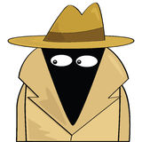 Spy. Cartoon illustration of a spy wearing a hat and trenchcoat vector illustration