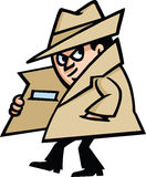 Spy. A suspicious spy is walking around pulling something from his pocket royalty free illustration