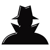 Spy. Silhouette isolated in white stock illustration
