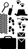 Spy. Elements like tires, radio, magnifying glass, sunglasses, hat, portfolio and folders royalty free illustration