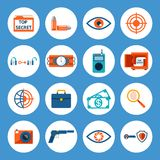 Spy Accessories and Gadget Icons Royalty Free Stock Photo