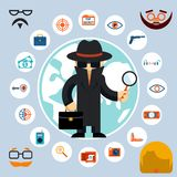 Spy with accessories icons. Spy in the black coat and hat with a magnifying glass and briefcase. Vector illustration Royalty Free Stock Photography