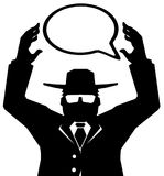 Spy Agent Speech Bubble. Agent figure stylized stencil black holding speech bubble, vector illustration, vertical, isolated Royalty Free Stock Photos