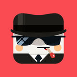 Spy avatar illustration. Trendy emissary squared icon with shadows in flat style. royalty free stock photos