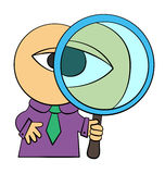 Spy business. A cartoon business man holding a giant magnifying glass Royalty Free Stock Images