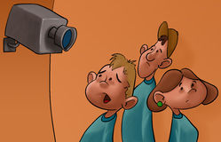 Spy cam and the students. Some young students watched by the surveillance camera Royalty Free Stock Photography