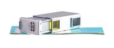Spy Camera. A miniature roll film spy camera isolated on white Royalty Free Stock Photo