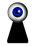 Spy. Cartoon blue eye peeping through the keyhole Stock Images